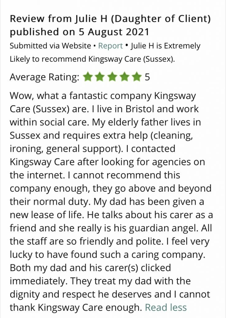 Five Star Reviews Kingsway Care